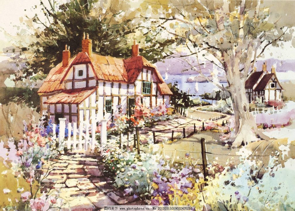 小屋 色彩 绘画 水粉 水彩画 屋子 房子 树 小路 油画 素描系列 绘画
