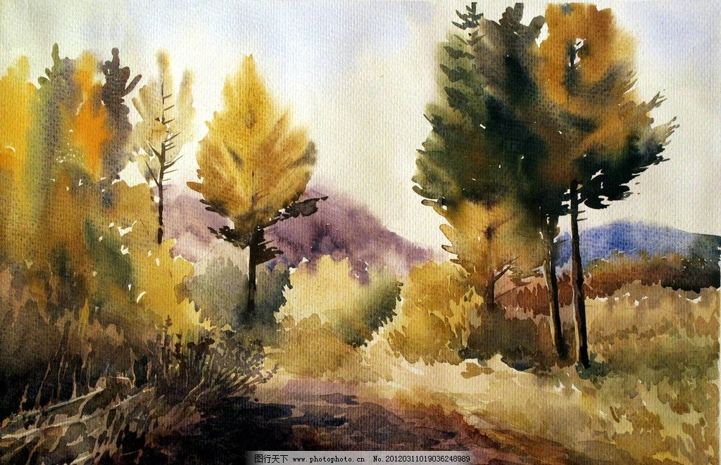 雨润山林 美术 水彩画 风景 山野 树林 树木 雨景 水彩画艺术