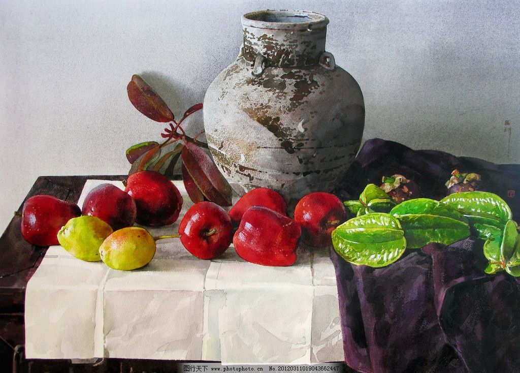 陶瓷水果 美术 水彩画 静物画 蛇果 梨子 杨桃 台布 白纸 水彩画艺术