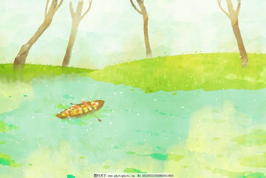 乡村景色 田园风光 春天绘画 春季广告 橱窗设计 彩粉画 蜡笔画 手绘