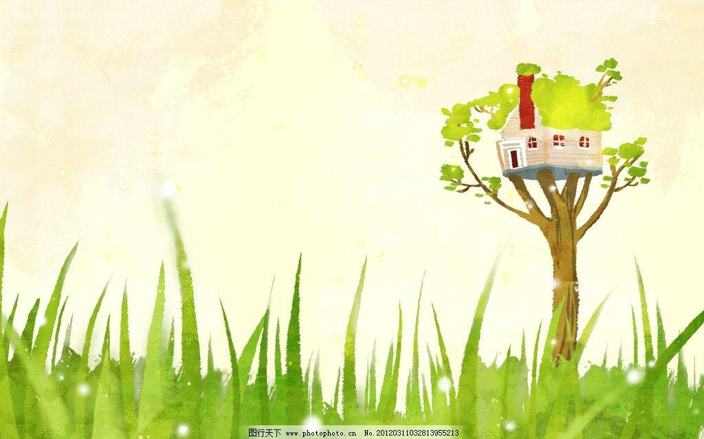 田园风光 春天绘画 春季广告 橱窗设计 彩粉画 蜡笔画 手绘风景 儿童