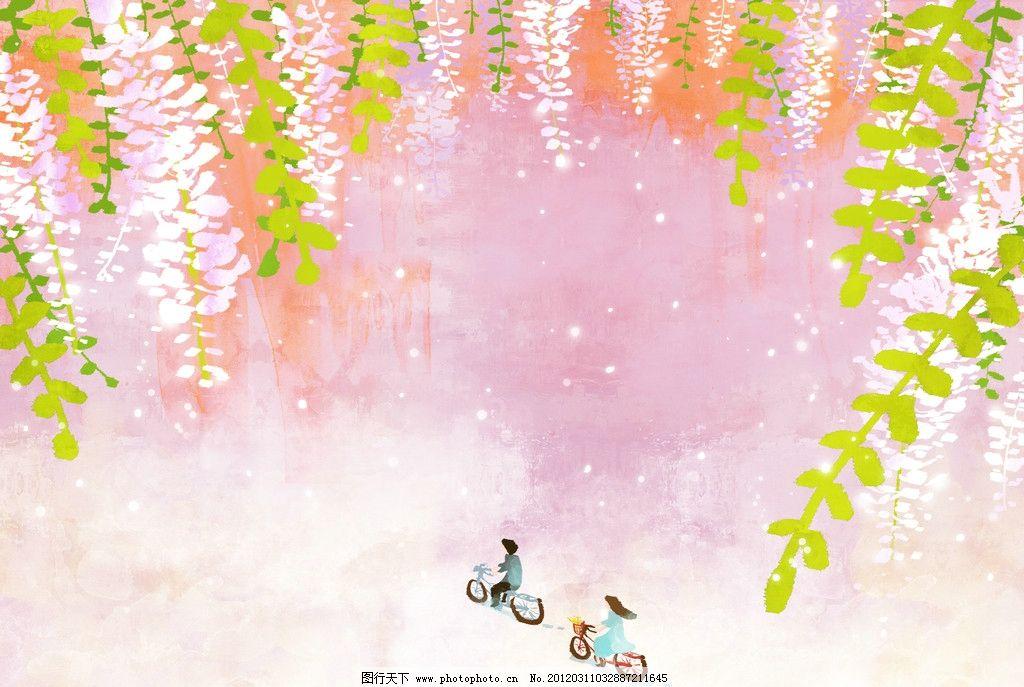 春季广告 橱窗设计 彩粉画 蜡笔画 手绘风景 春季海报 抽象画 水彩画
