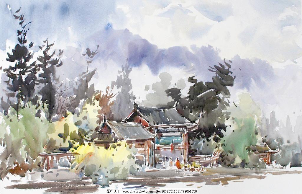 黑龙潭公园 风景画 绘画书法 美术 树林 树木 水彩画 黑龙潭公园设计