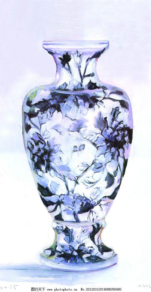 静物瓶子 静物 瓶子 青花瓷瓶子 蓝色花瓶 绘画书法 文化艺术 设计