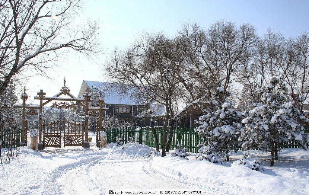 冬季木屋图片