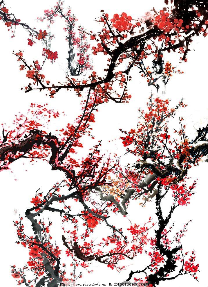 梅花桃山风景画画