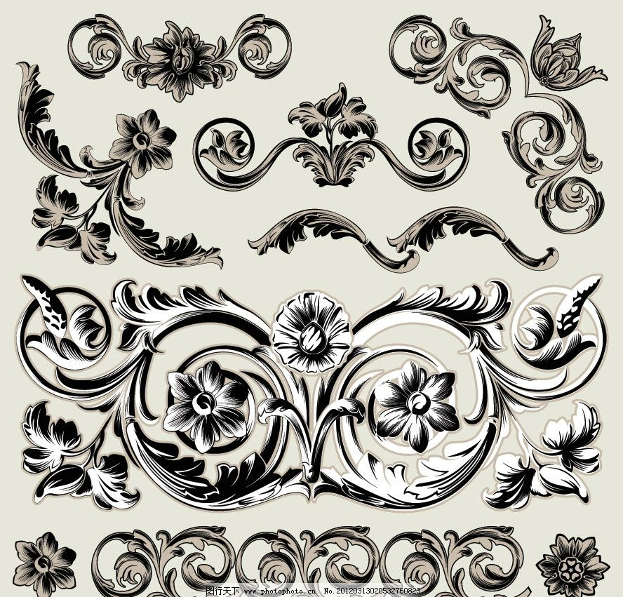 欧式 古典 花纹 手绘 装饰 设计 时尚 潮流 矢量 条纹线条 底纹边框