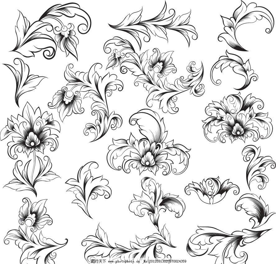 欧式 古典 花纹 手绘 装饰 设计 时尚 潮流 矢量 条纹线条 底纹边框图片