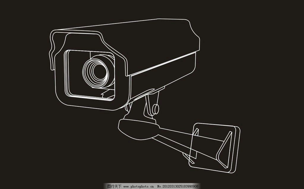 手绘监控摄像机 手绘 监控 摄像机 通讯科技 现代科技 矢量 cdr