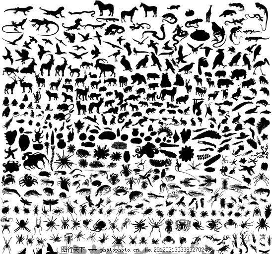 各种动物剪影图片,家禽 野兽 形状 图标 矢量素材-图
