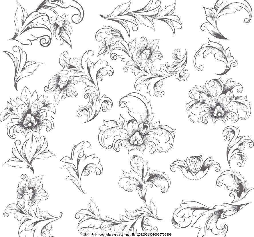 潮流 底纹边框 古典 时尚 手绘 条纹线条 欧式花纹装饰矢量矢量素材