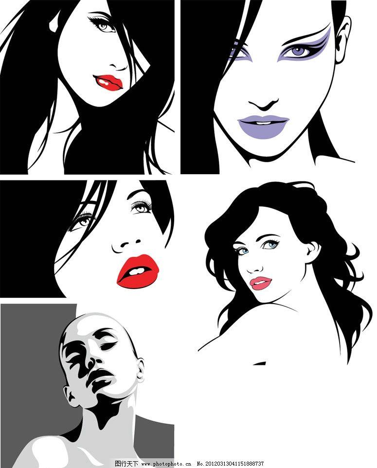 手绘时尚女孩图片,美女 女人 优雅 卡通 插画 装饰-图