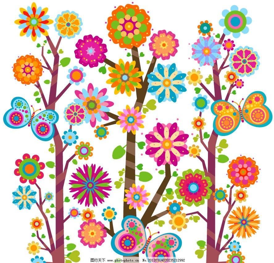 可爱树木花纹花朵蝴蝶图片