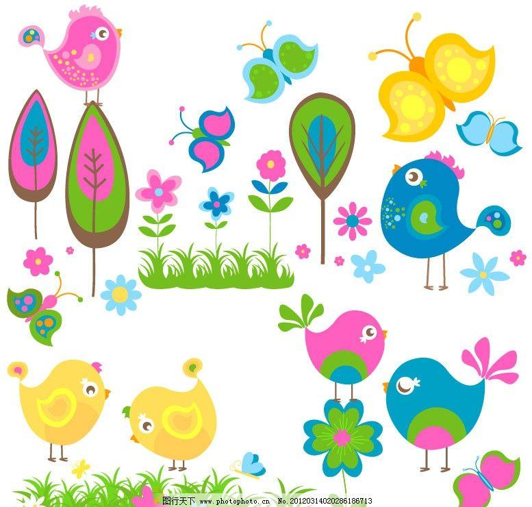 春天可爱小鸟绿树图片