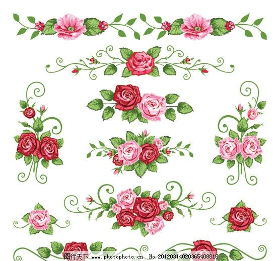 玫瑰花 花卉花纹花边 手绘 古典 欧式 底纹 边框 时尚 矢量素材