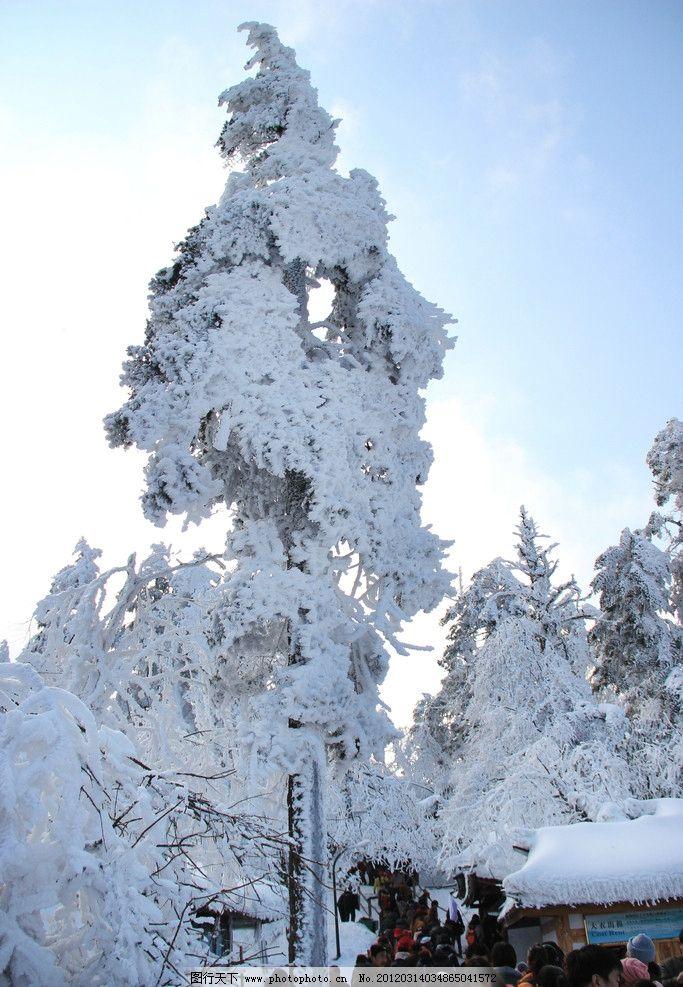 峨眉山 雪景 峨眉山雪 雪树 建筑 古建筑 自然风景 山水风光