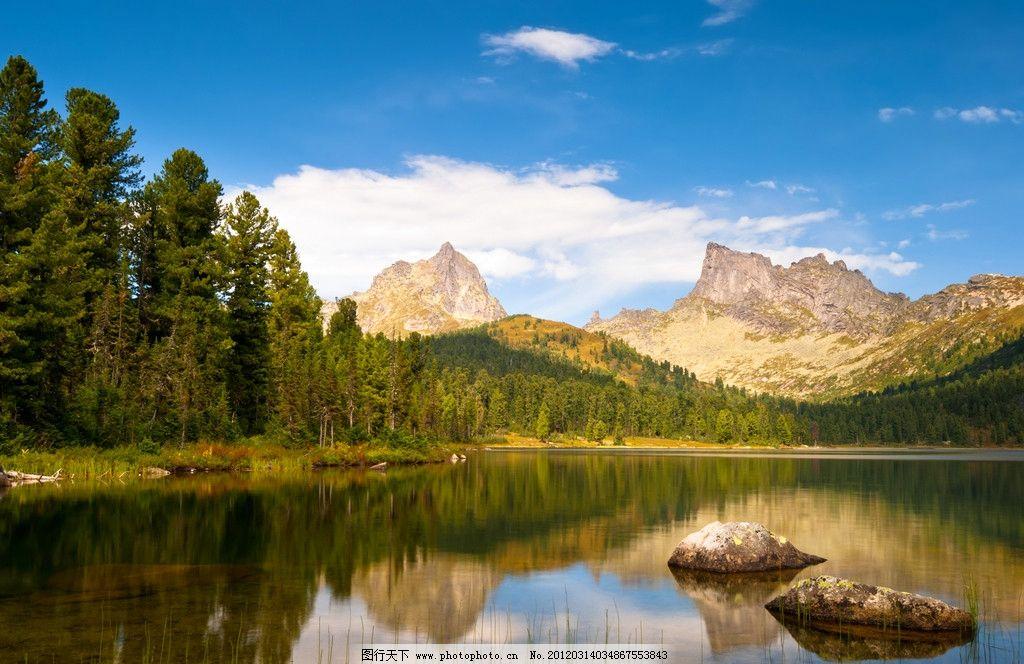 山水蓝天白云美景 山峦 树林 水面 倒影 湖水 风景 风景摄影