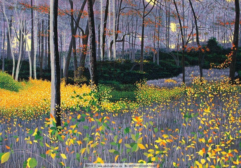 版画树林 版画 艺术 自然 风景 树林 薰衣草 绘画书法 文化艺术 设计