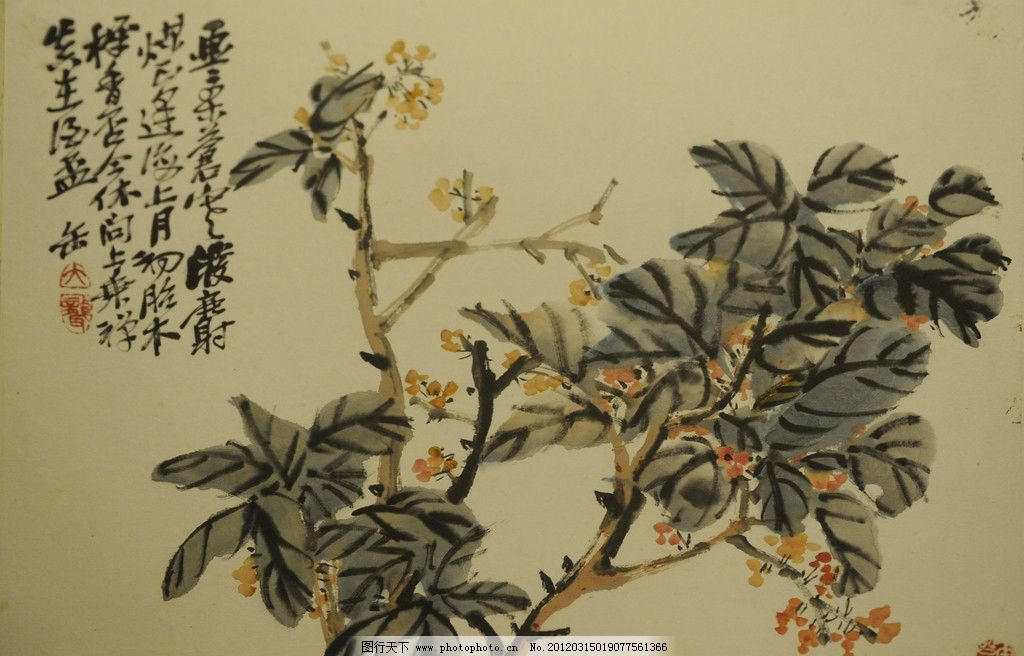 桂花 吴昌硕 海派 国画 中国画 花鸟画 花卉 清代 绘画 绘画书法 文