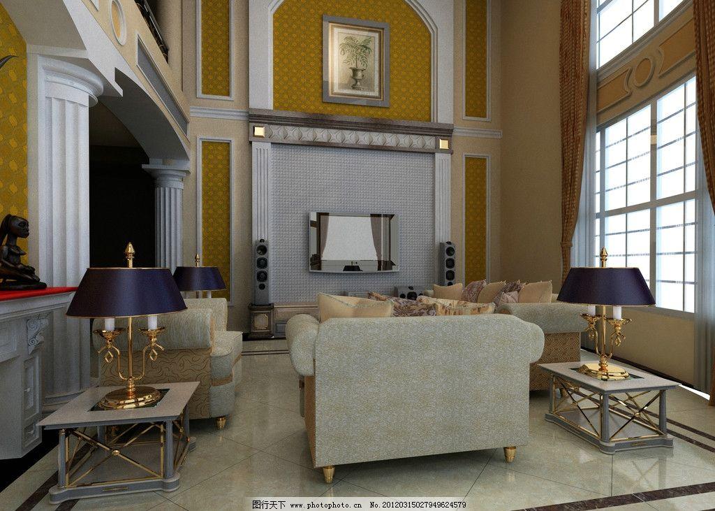 客厅图片,地面 抛光砖 室内摄影 建筑园林 效果图-图