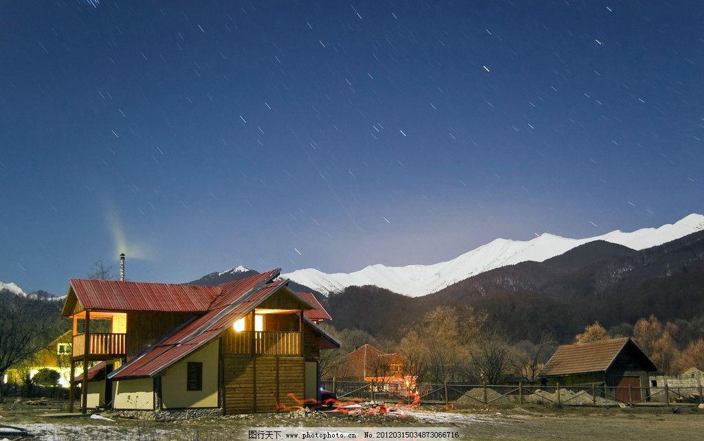 极地风光 极地 风光 风景 北极 南极 极光 星空 夜景 房子 房屋 小