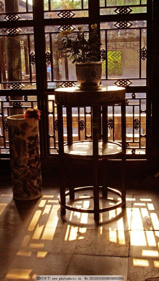 苏州园林 公园 江南 盆景 窗户 木窗 花架 案几 景观设计 古建筑