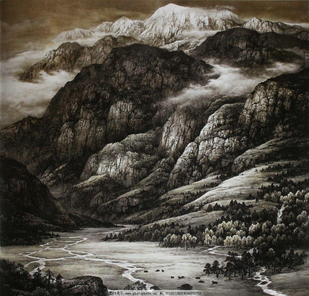 高山流水 山水画 中国画 苍山 瀑布 山泉 悬崖 树林 草甸 云雾