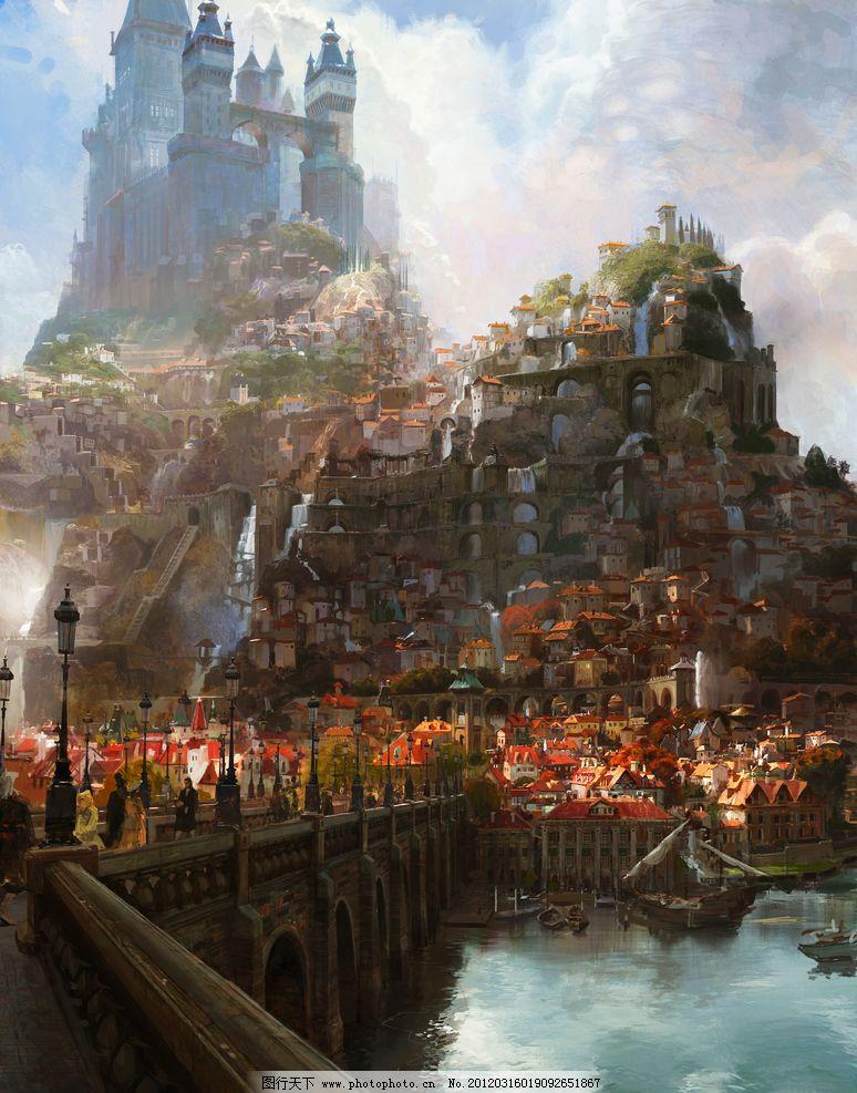 长发公主 背景 cg 城堡 桥 水 倒影 欧洲 古堡 油画 厚涂 风景 设定