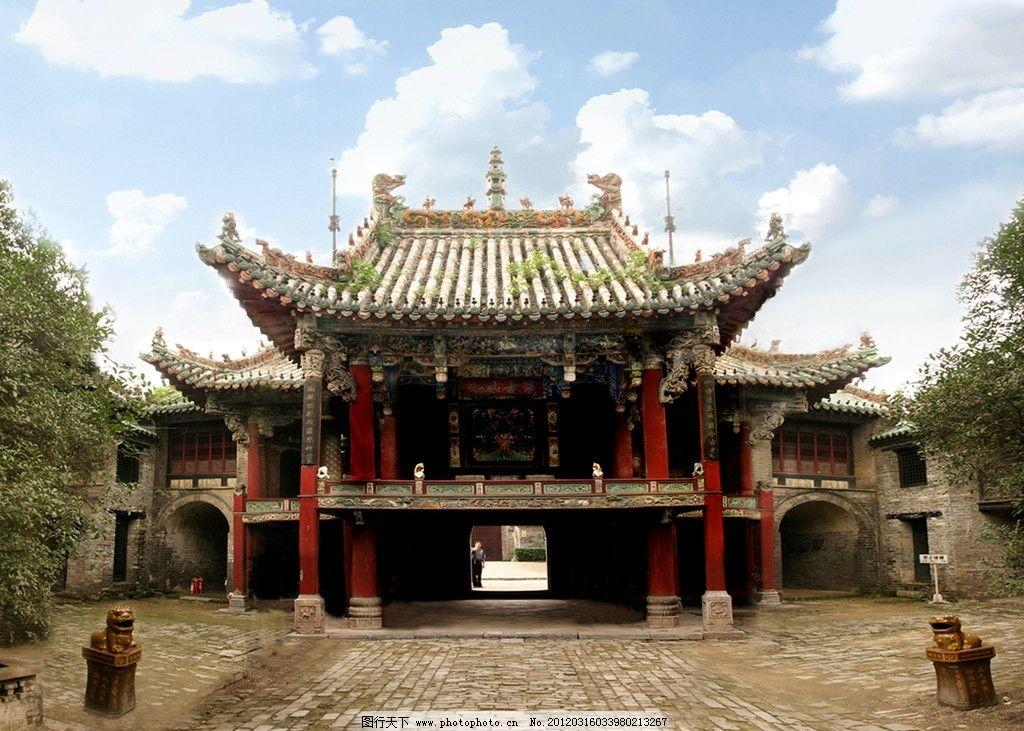 花戏楼戏台 柱子 花纹 古迹 古建筑 安徽 亳州 天空 风景 国内旅游
