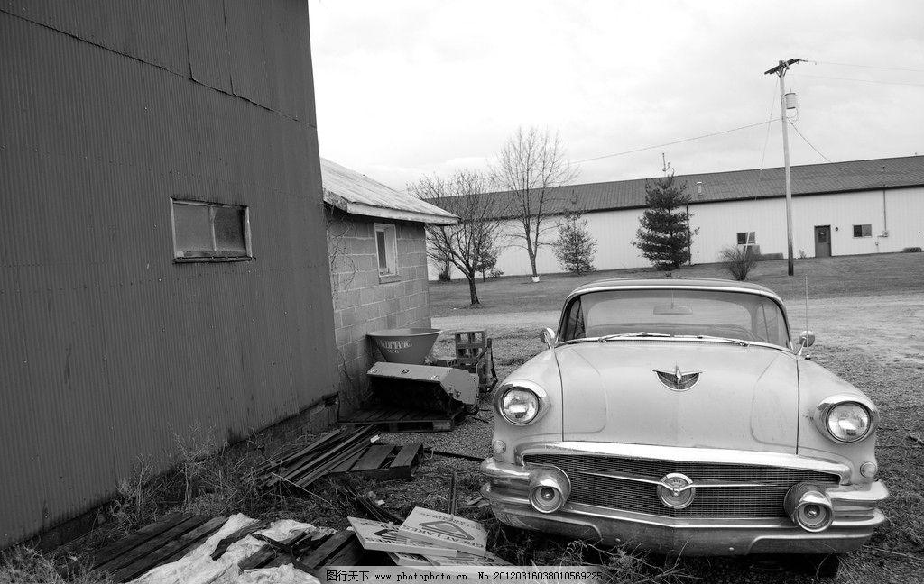 小汽车黑白照片图片