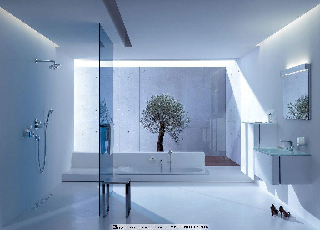 卫浴空间 面盆 龙头 浴缸浴室柜组合 淋浴花洒 淋浴房 磁砖 室内摄影