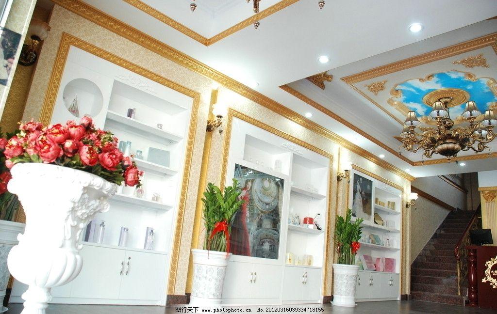 美容大厅 欧式 装修 美容院 楼梯 美容院装修 室内摄影 建筑园林