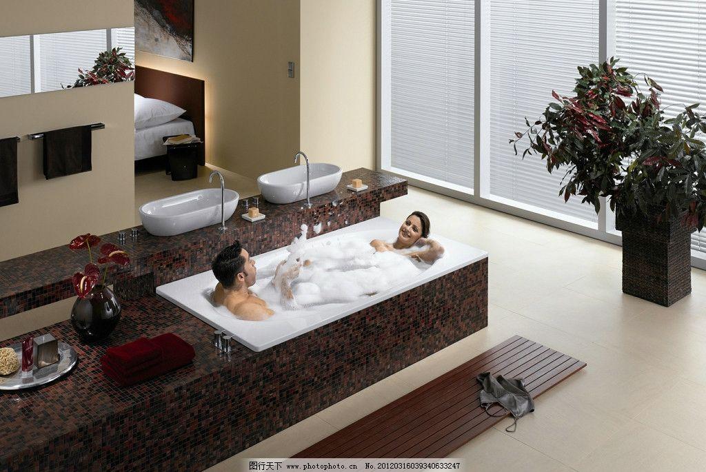 卫浴空间 面盆 龙头 浴缸 马赛克 男美女磁砖 室内摄影 建筑园林