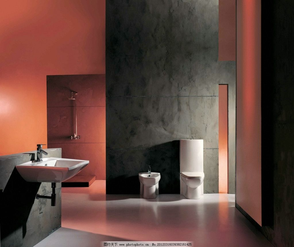 卫浴空间 面盆 龙头 坐便器 淋浴花洒 磁砖 室内摄影 建筑园林