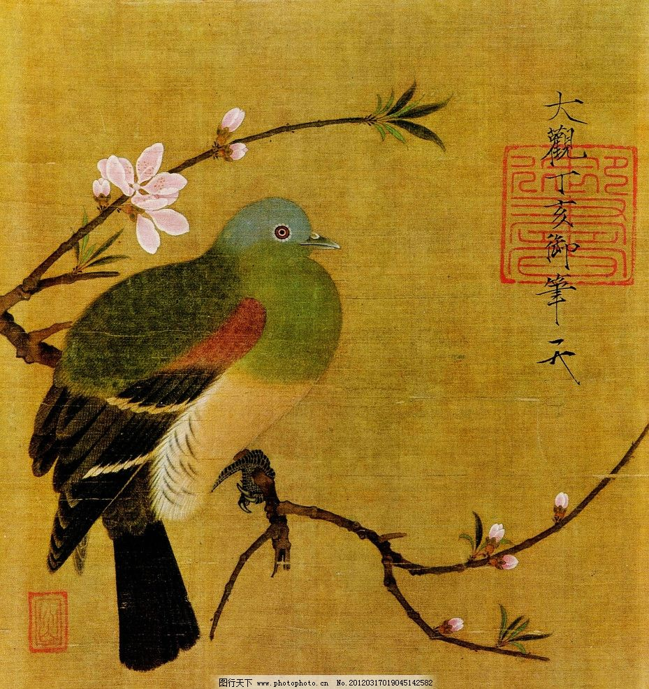宋代花鸟画 美术 中国画 工笔画 花鸟画 鸟儿 山雀 桃花 国画艺术