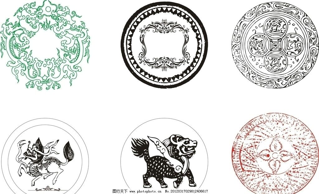 圆形花纹标识标志 圆形 花纹 底纹 动物 红色 黑色 圆圈 高贵 花瓣