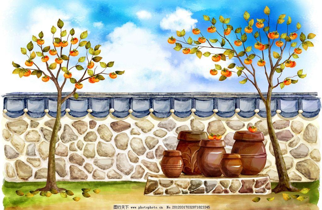 水彩画 油画 韩国手绘 美景 田园绘画 乡村 村庄 自然风景 春天 夏天