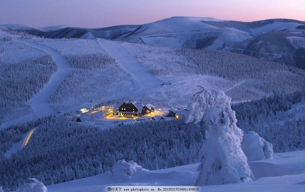 雪景 树林 雪地 雪山 自然 生态环境 壁画 壁纸 风景 背景