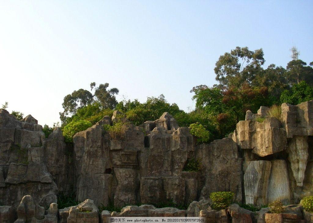 园林景观 森林 树木 山水 风景 蓝天 白云 雕塑 岩石 背景