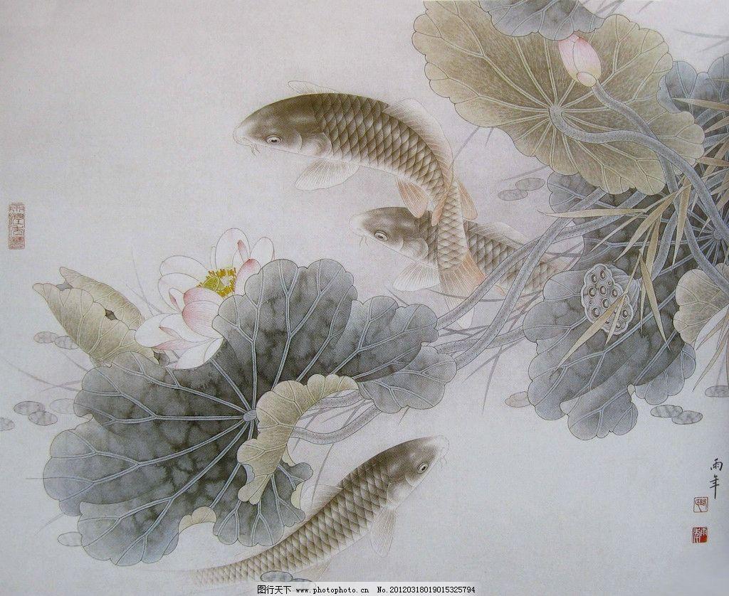 国画 中国画 工笔彩墨画 彩墨工笔画 大师作品 风景画 荷花 植物 荷叶