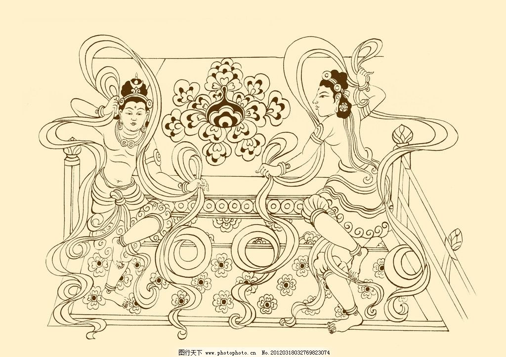 敦煌莫高窟飞天图片_敦煌壁画图片,飞天 菩萨 佛教 白描 线描 分层 敦煌_比利网