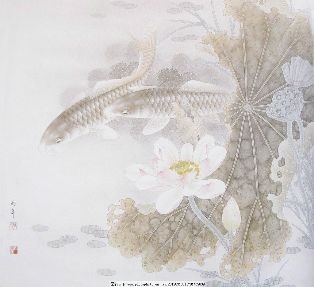 工笔荷花 池塘 风景画 工笔画 国画 荷叶 绘画书法 工笔荷花设计素材