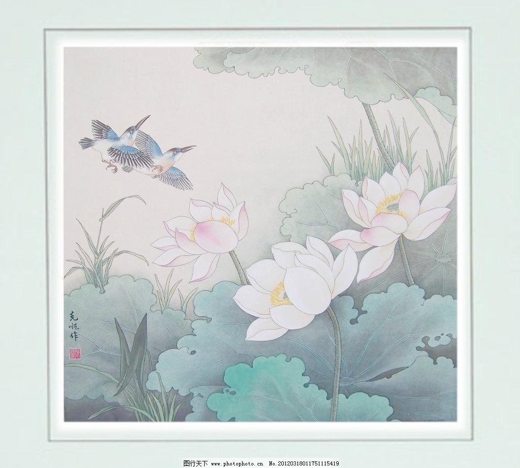 工笔荷花 池塘 动物 风景画 工笔画 国画 国画花鸟 荷叶 工笔荷花设计