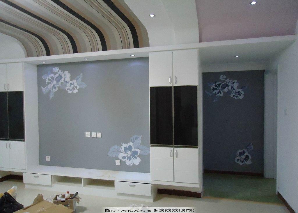 手绘 家装设计 电视背景墙手绘 走廊玄关手绘 黑白灰图案 美术绘画
