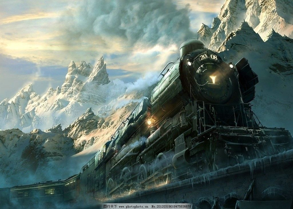 火车 雪山 卡通 漫画 壁纸 风景 背景 唯美 插画 动漫动画