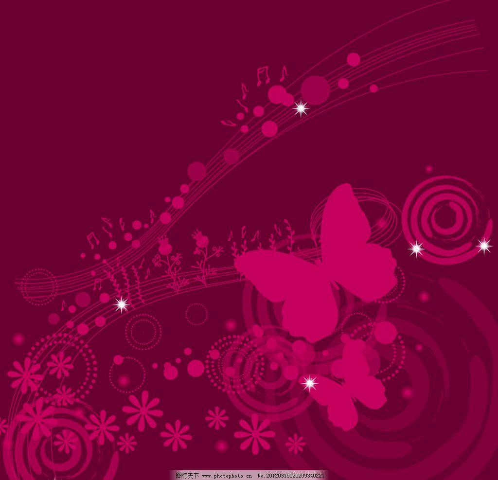 红色背景 红色 背景 音乐背景 蝴蝶 音乐标志 花 背景底纹 底纹边框