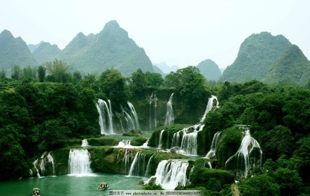 桂林瀑布 山水 绿山 山峦 流水 山水风景 自然景观 摄影
