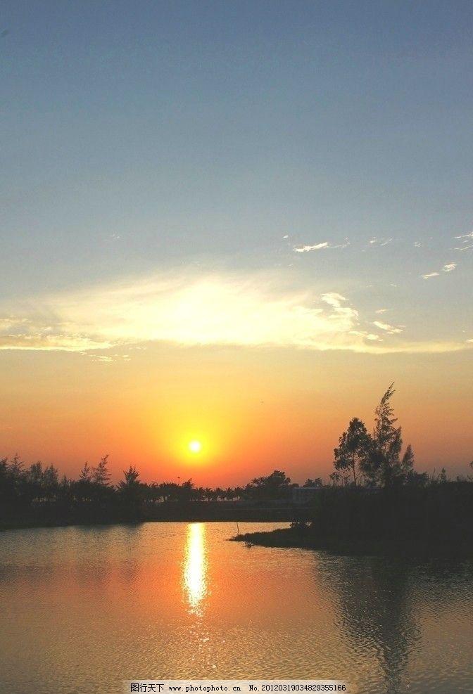 溪边日落 溪水 水面 倒影 太阳 自然风景 自然景观 摄影