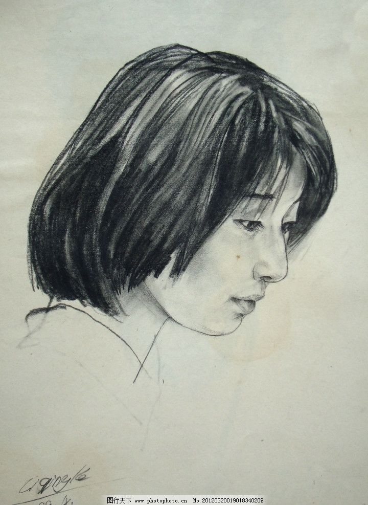 素描头像 素描人像 头像素描 绘画 手绘 女人 美女 中国美术学院
