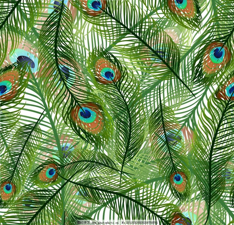 孔雀羽毛背景矢量 手绘 羽毛 动感 时尚 潮流 梦幻 背景 底纹 矢量